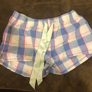 Old Navy Pajama Shorts Lt Blue Plaid - Sz Lg